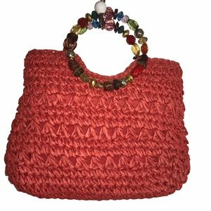 Cappelli Straw Purse with Beaded Handles